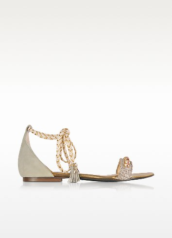 Light Silky Rose Flat Suede Sandal with Coloured Gemstones - Patrizia Pepe