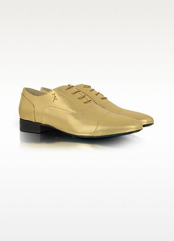 Gold Leather Captoe Oxford Shoe - Patrizia Pepe