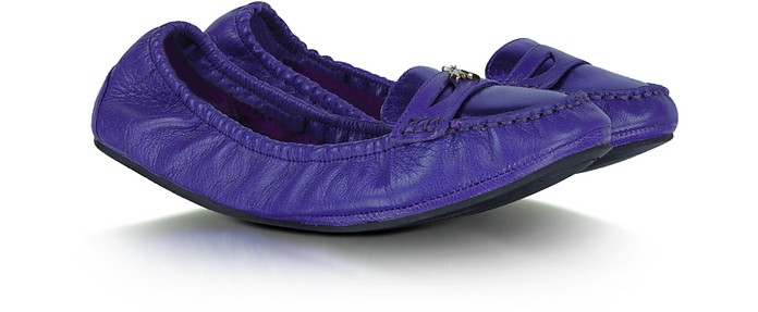 Violet Leather Ballerina Shoes - Patrizia Pepe