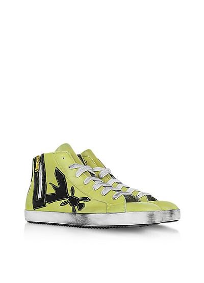 High Top Yellow Leather Sneaker - Patrizia Pepe