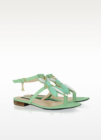 Green Flat Leather Thong Sandals - Patrizia Pepe