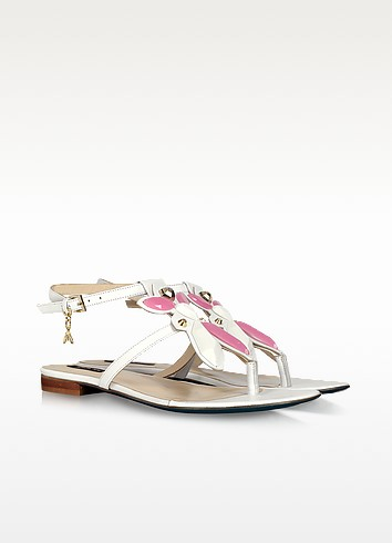 White Flat Leather Thong Sandals - Patrizia Pepe