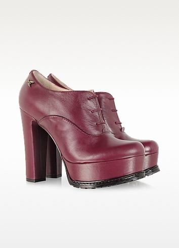 Brushed Lipstick Red Platform Lace Up Shoe - Patrizia Pepe