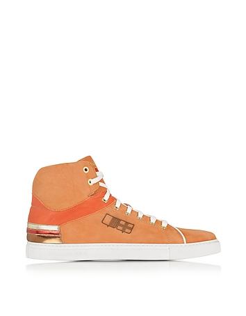 D Plus B Orange High Top Suede Sneaker