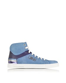 D Plus B Cobalt Blue High Top Suede Sneaker - D'Acquasparta