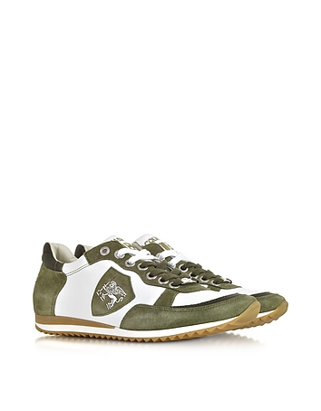 D'Acquasparta - Venezia White Leather and Green Suede Sneaker