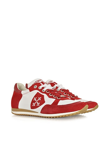 D'Acquasparta - Pisa White Leather and Red Suede Sneaker