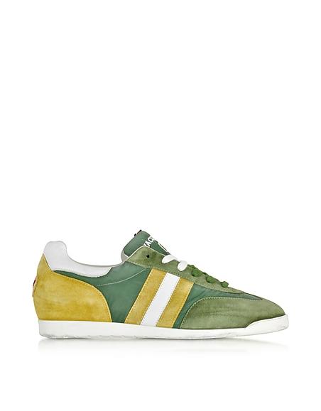 Foto D'Acquasparta Chimera Sneaker da Uomo in Nabuk e Tessuto Washed Verde/Ocra Scarpe