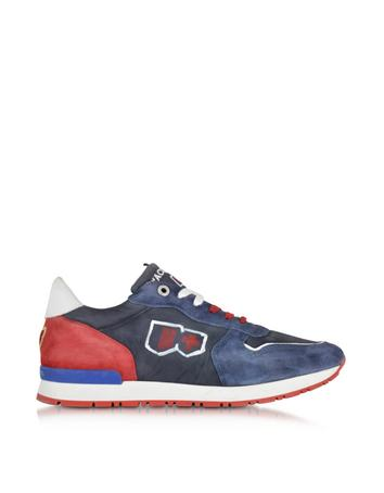 Forzieri DE D'Acquasparta Botticelli Blue and Red Fabric and Suede Sneaker