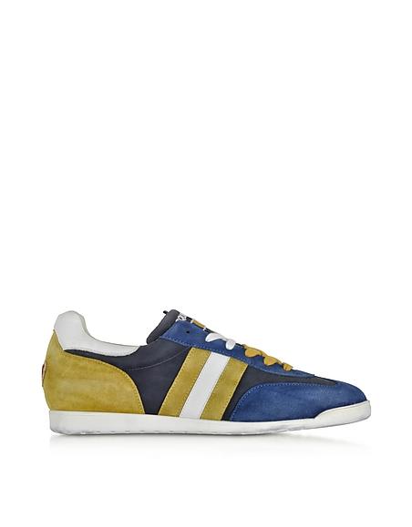 Foto D'Acquasparta Chimera Sneaker da Uomo in Nabuk e Tessuto Washed Blu Notte/Ocra Scarpe