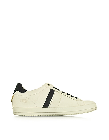 Davis Distressed Off White Leather and Blue Nubuck Men's Sneaker