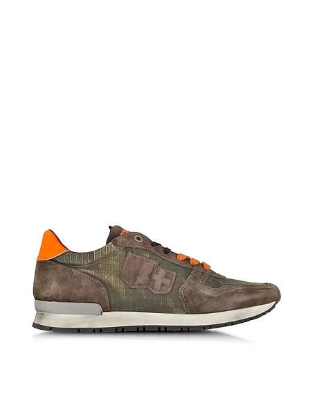 Foto D'Acquasparta Botticelli Sneaker da Uomo in Canvas Camouflage e Suede Castagna Scarpe