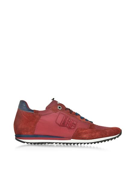 Foto D'Acquasparta Magnifico Sneaker da Uomo in Nylon e Suede Rosso Scarpe