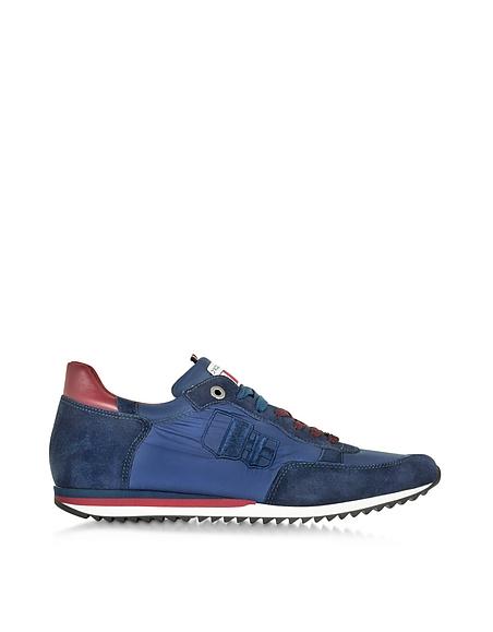 Foto D'Acquasparta Magnifico Sneaker da Uomo in Nylon e Suede Blu Scarpe