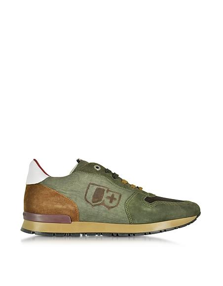 Foto D'Acquasparta Botticelli Sneaker da Uomo in Canvas e Suede Verde Militare Scarpe