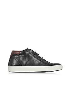 Mid Urban Black Leather Men's Sneaker - D'Acquasparta