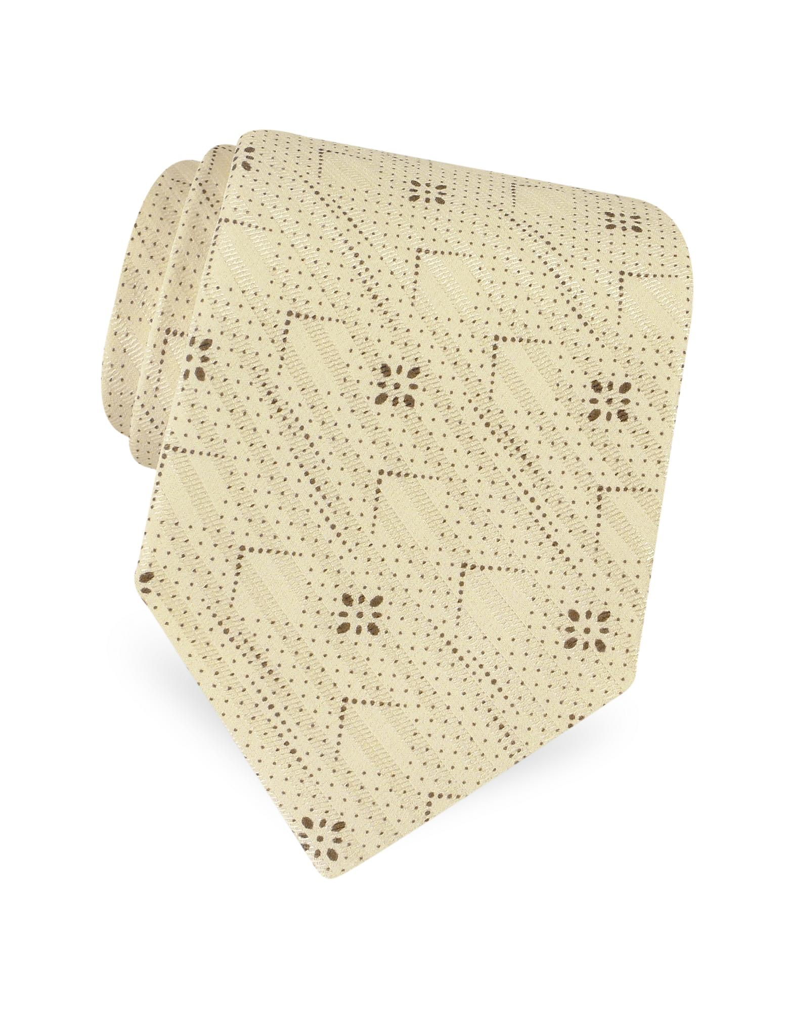 Giorgio Armani  Dotted Squares and Lines Woven Silk Tie