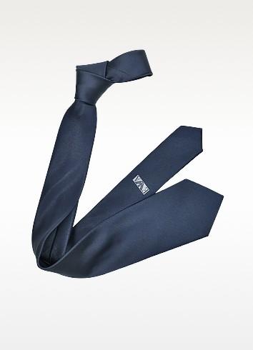 Shimmering Solid Blue Silk Tie - Emporio Armani