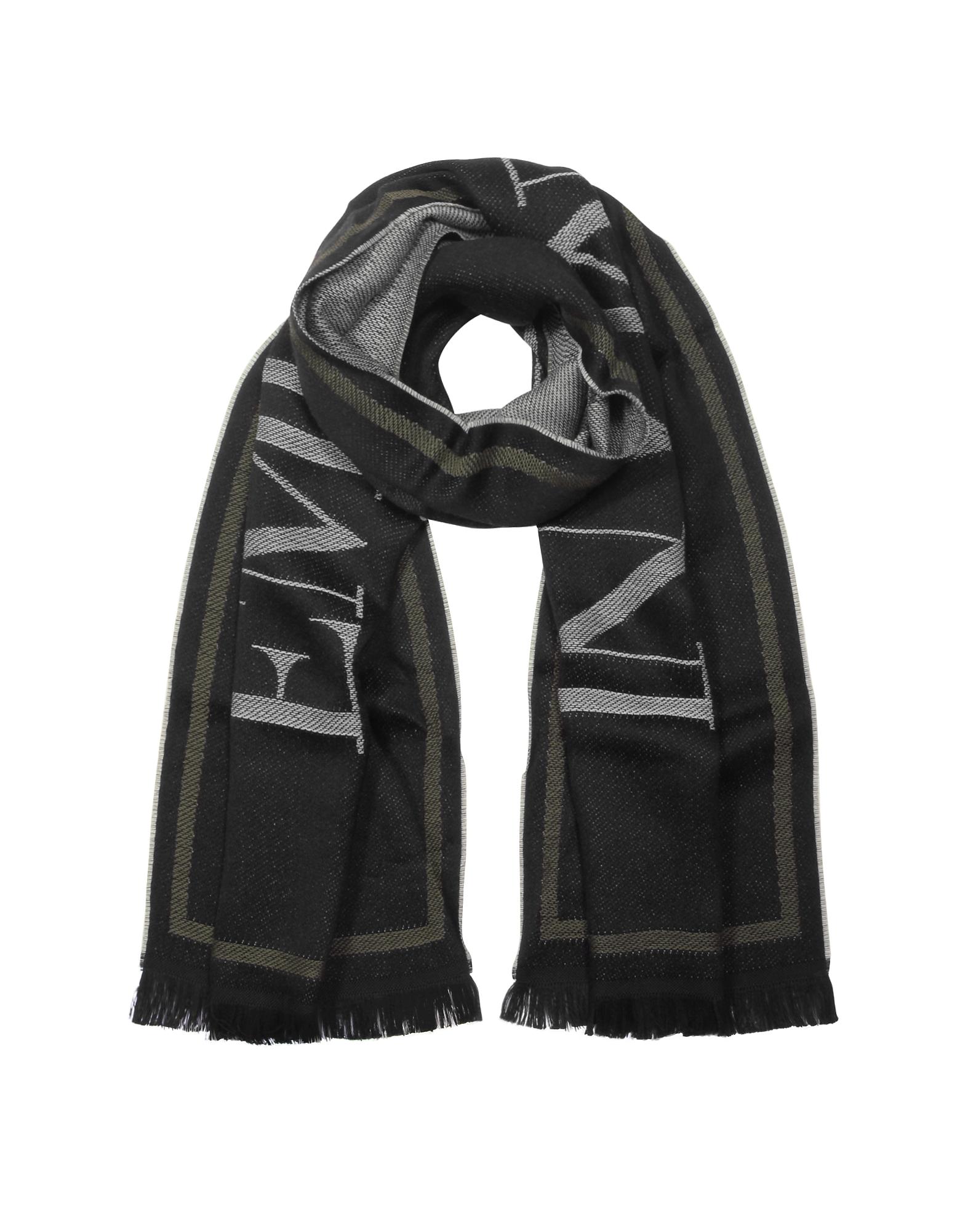 Black Woven Signature Wool Blend Men's Scarf