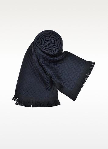 Men's Blue & Black Logo Band Wool Scarf - Emporio Armani
