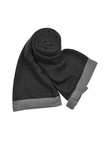 Emporio Armani Bow Black Cashmere Long Scarf