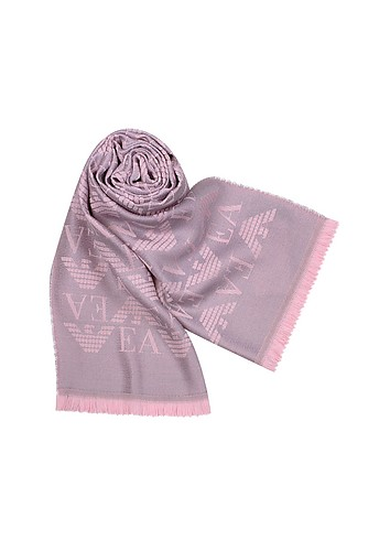 Emporio Armani All-Over Logo Wool and Silk Long Scarf :  wool women womens scarves