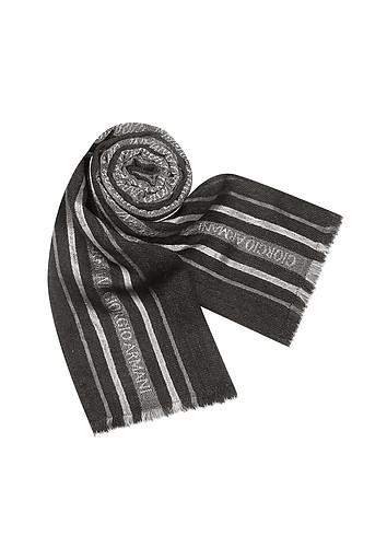 Giorgio Armani Signature Stripe Dark Gray Wool Long Scarf