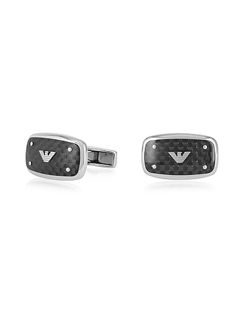 Stainless Steel and Carbon Fiber Signature Men's Cufflinks
