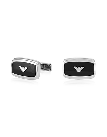 Emporio Armani - Stainless Steel and Enamel Signature Men's Cufflinks