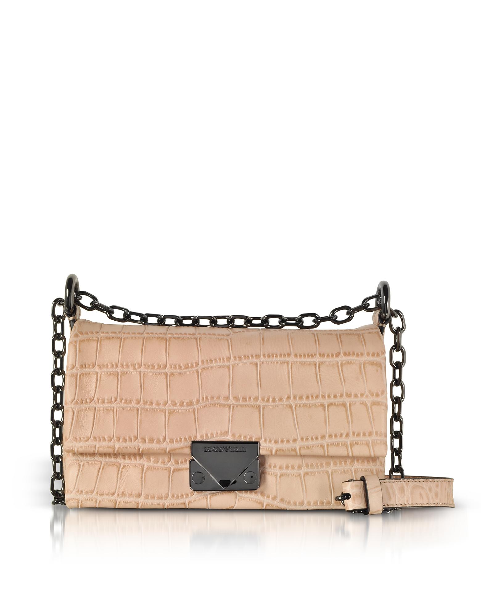 Emporio Armani Handbags, Croco-Embossed Leather Small Shoulder Bag