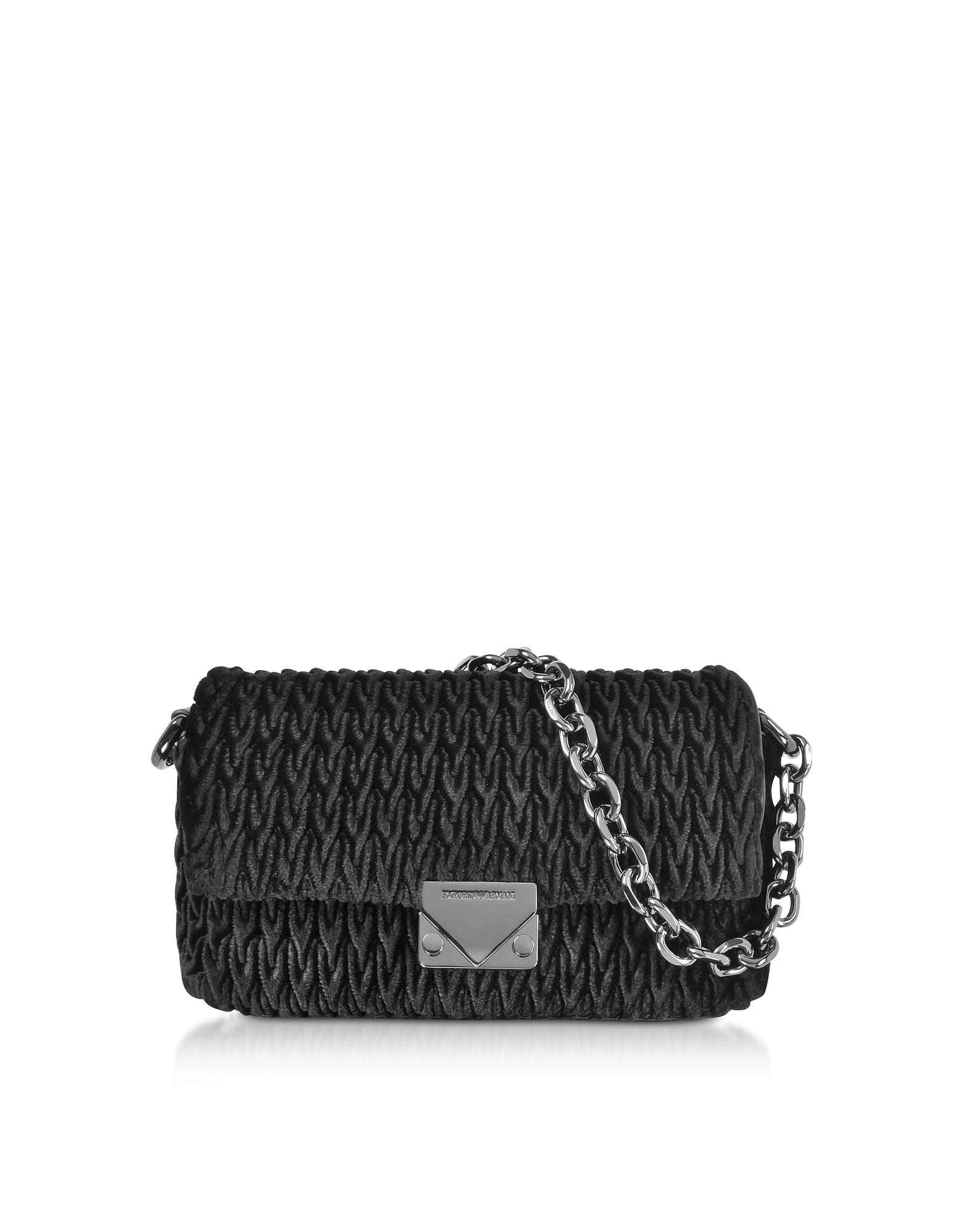 Quilted Velvet Top-Handle Shoulder Bag