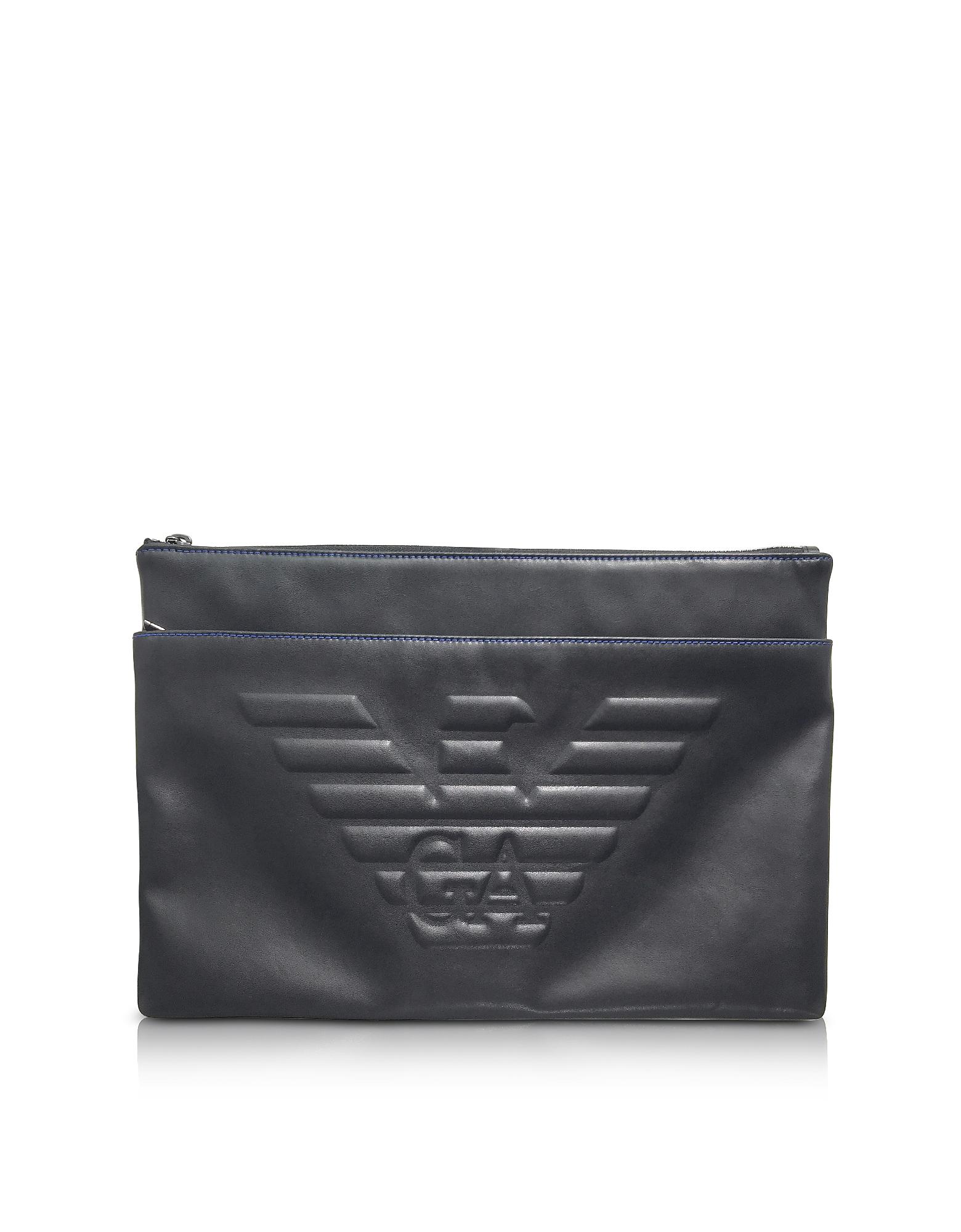 Черный Мужской Клатч с Тисненым Логотипом