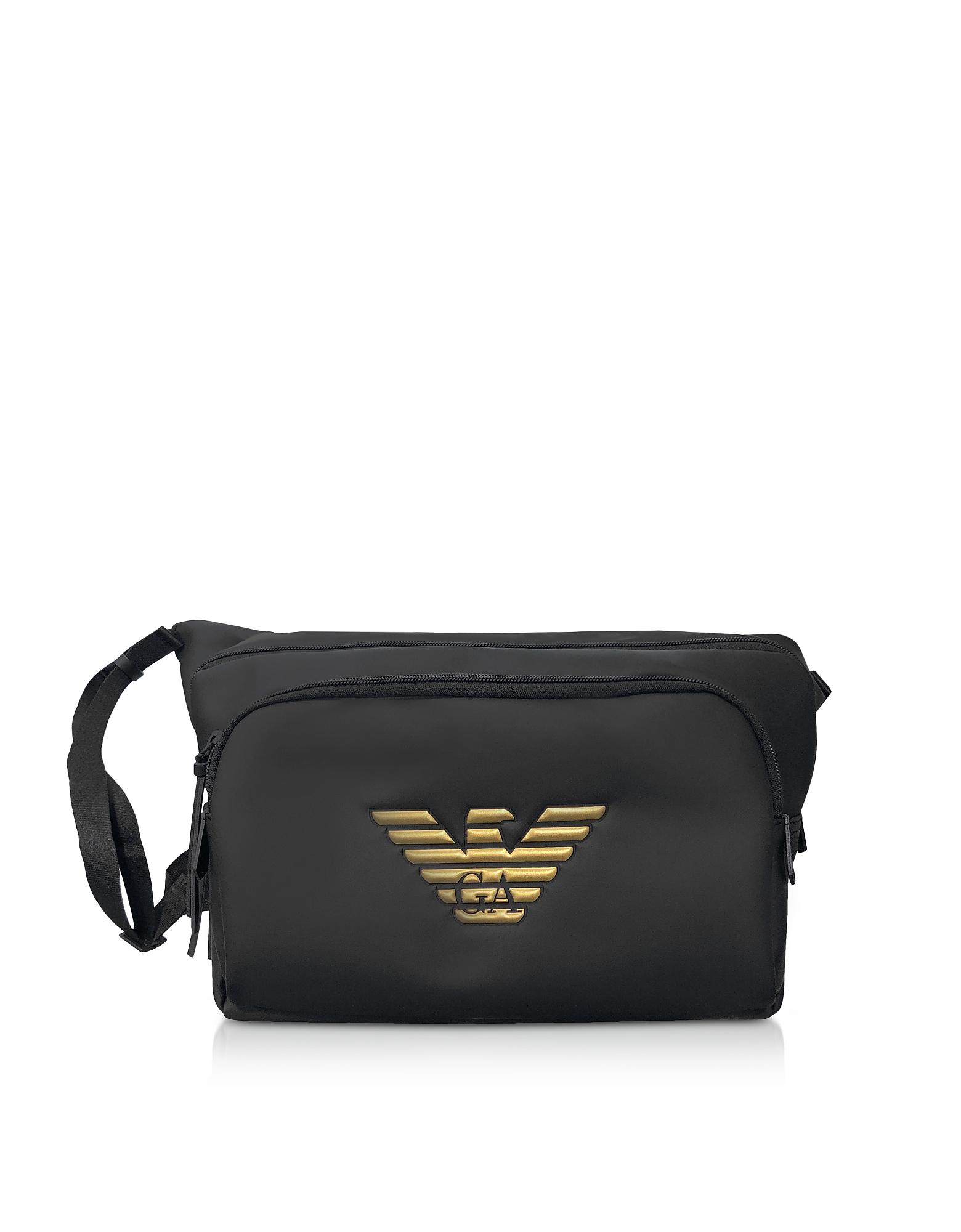 Black and Gold Eagle Belt Bag