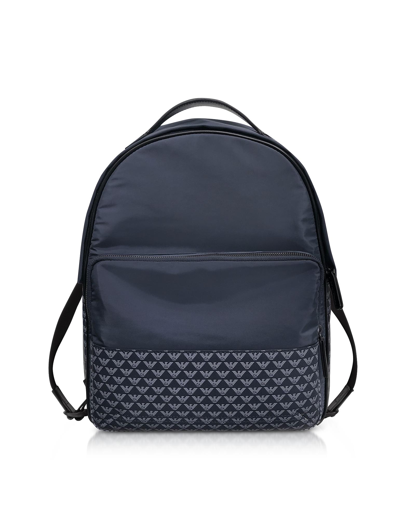Allover Iconic Eagle Nylon Backpack, Blue/navy