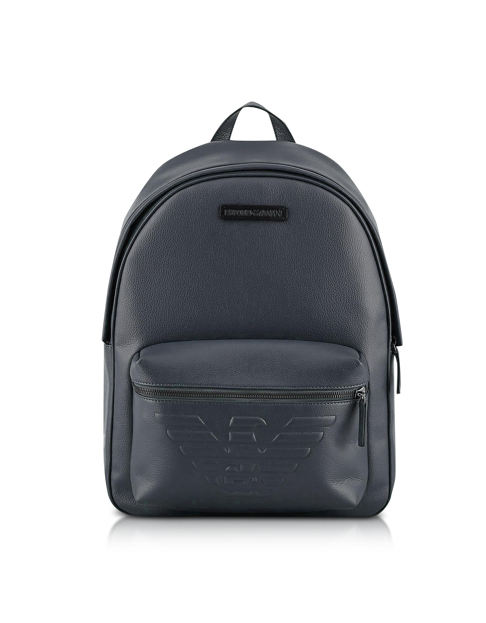 Pebble Leather Eagle Backpack, Navy blue