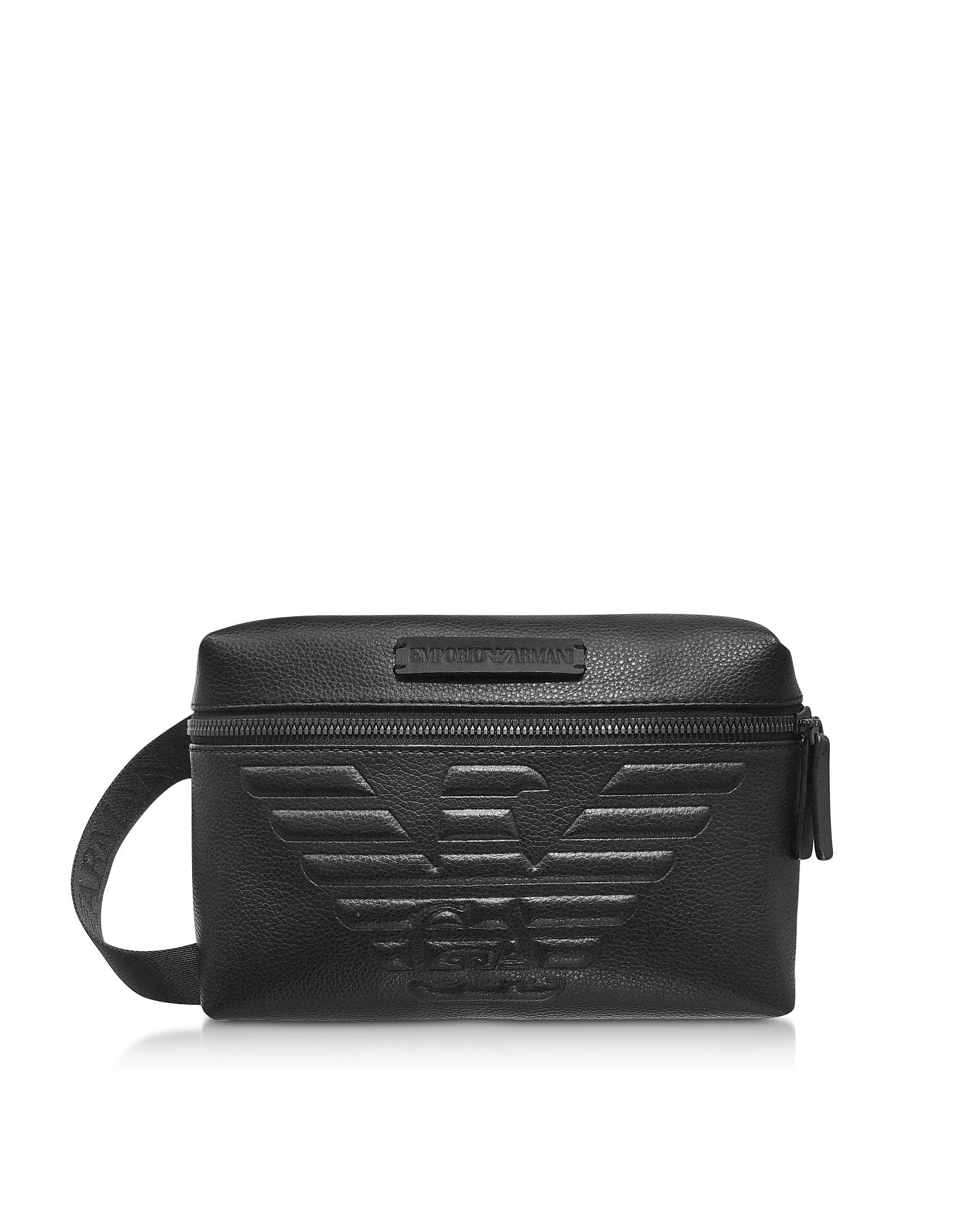 Pebble Leather Eagle Belt Bag, Black