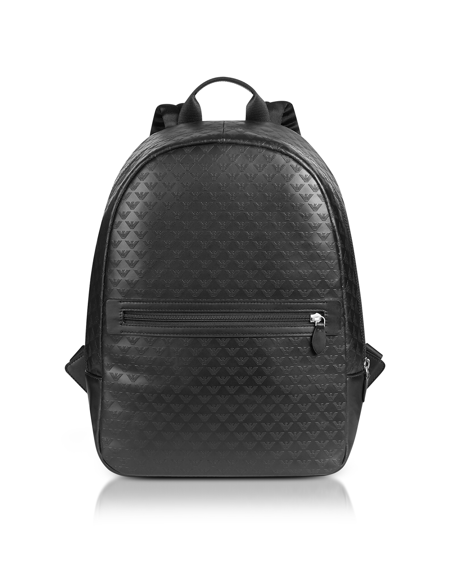 Allover Signature Black Leather Men's Backpack