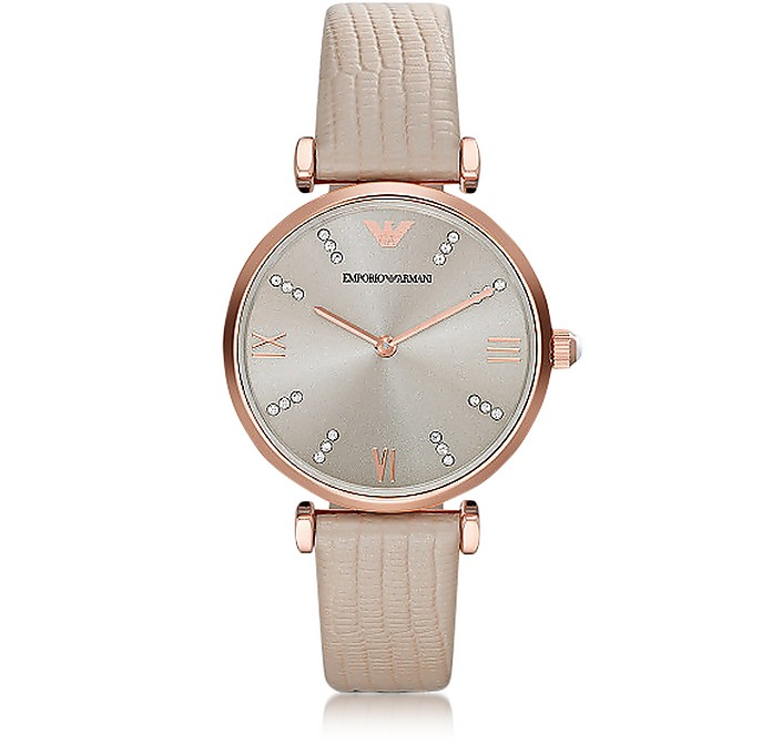 T-Bar Rose gold-tone PVD Stainless Steel Women's Quartz Watch w/Leather Strap - Emporio Armani