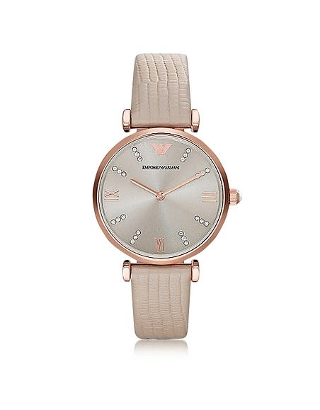 Emporio Armani T-Bar Damen-Quartz-Armbanduhr aus goldfarbenem PVD Edelstahl mit Lederarmband