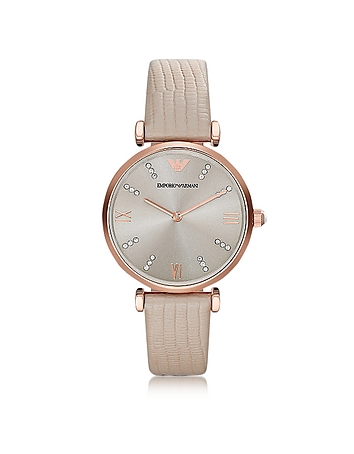 Emporio Armani - T-Bar Rose gold-tone PVD Stainless Steel Women's Quartz Watch w/Leather Strap