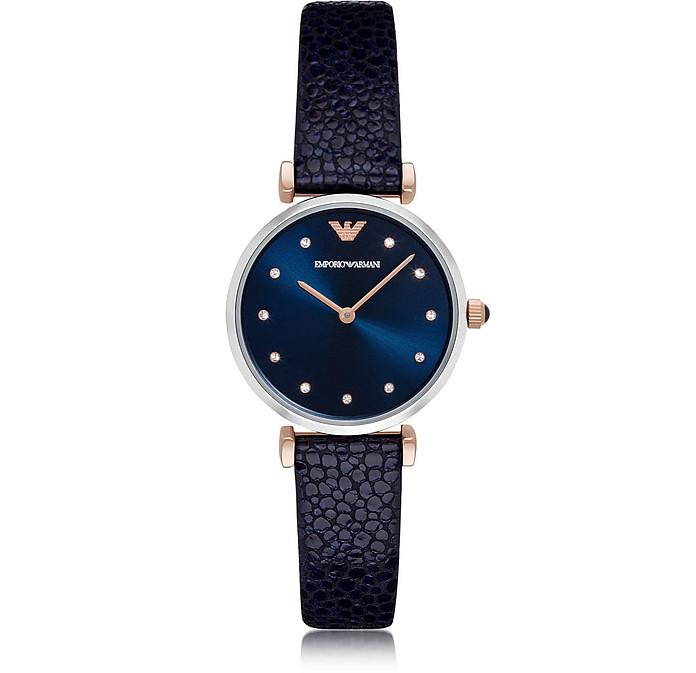 T-Bar Stainless Steel Women's Quartz Watch w/Midnight Blue Leather Strap - Emporio Armani