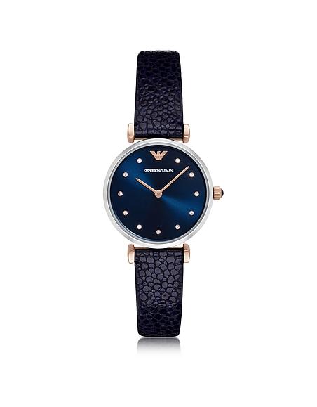 Emporio Armani T-Bar Damen-Quartz-Uhr aus Edelstahl mit Lederarmband in midnight-blau