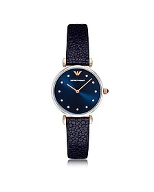 T-Bar Stainless Steel Women's Quartz Watch w/Midnight Blue Leather Strap - Emporio Armani