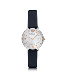 Kappa Stainless Steel Women's Quartz Watch w/Midnight Blue Leather Strap - Emporio Armani