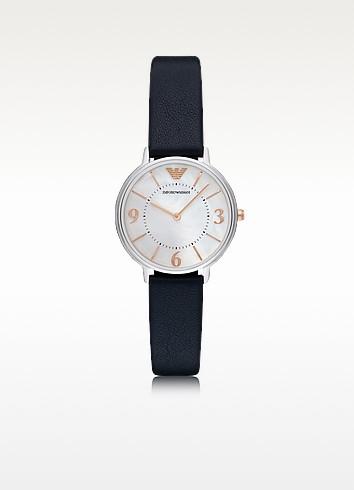 Kappa Stainless Steel Women's Quartz Watch w/Midnight Blue Leather Strap - Emporio Armani