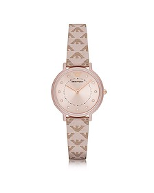 Kappa Stainless Steel Women's Quartz Watch w/Signature Leather Strap - Emporio Armani