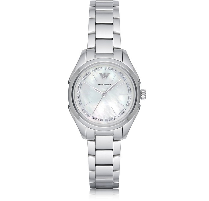 Stainless Steel Women's Quartz Watch w/Mother of Pearl Signature Dial - Emporio Armani