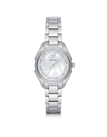 Emporio Armani - Stainless Steel Women's Quartz Watch w/Mother of Pearl Signature Dial