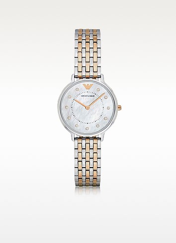 Kappa Two Tone Stainless Steel Women's Quartz Watch w/Mother of Pearl Dial - Emporio Armani