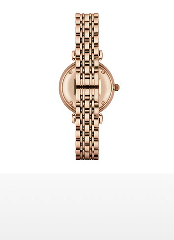 Rose Gold PVD Stainless Steel Women's Quartz Watch w/Mother of Pearl Signature Dial - Emporio Armani